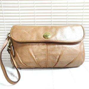 Coach bronze brown leather clutch wristlet wallet